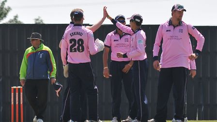 Middlesex celebrate taking a wicket