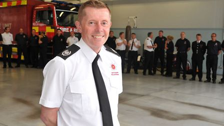 Firefighter Ian Malkwell at his leaving parade after 30 years of service