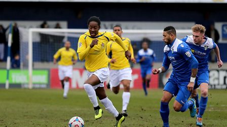 Jamal Lowe surges onto the Stortford half. Picture: Leigh Page