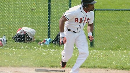 Edwin Alcantara rounds the bases after scoring his second home run of the season. Picture: Paul Hold