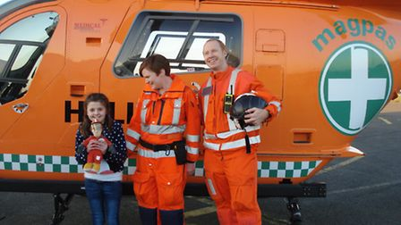 Abaigh O'Gallagher with Magmas Helimedix Dr Tom Odbert and paramedic Sally Boor