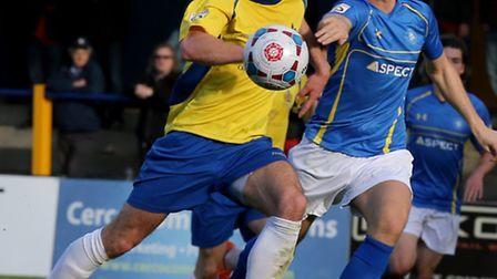 Former Concord Rangers defender Jack Lampe tussles with Steve Wales for the ball. Picture: Leigh Pag