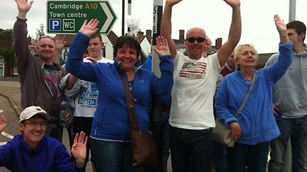 Royston spectactors get in the spirit while waiting to see the cyclists from the Aviva Women's Tour