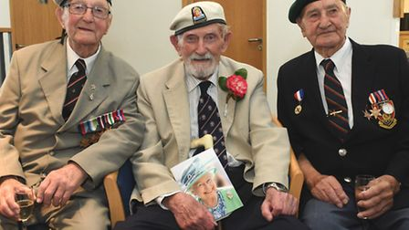 """100th Birthday of Philip (""""Pip"""") Harrison, at St Ives Golf Club, with ( l-r) Jack Millard, (94) of t"""