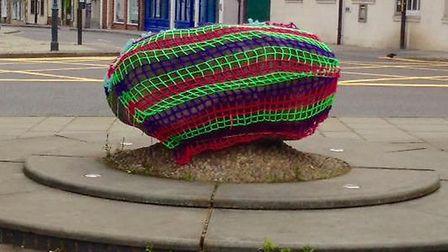 The crochet net around the Roy Stone disappeared for more than 24 hours.