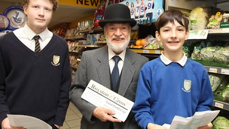 Hugh Pollock with Jack Hallam and Oliver Martin from Melbourn Village College