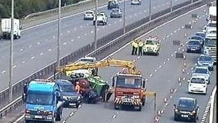 crash this morning on the A1 at Sawtry. Picture taken by Highways England on June 15 between 9.58 an