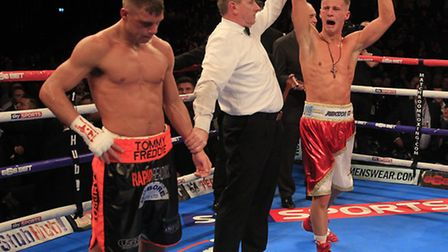 Tommy Martin celebrating his English light-welterweight title win back in January. Picture: LAWRENCE