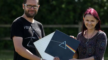 Fonz Chamberlain, Cambridge historian and artist, Pippa Westoby, with Pink Floyd vinyls