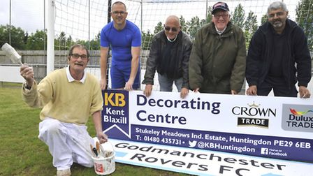 Godmanchester Rovers FC received a donation from Kent Blaxill, which donated £800 of paint, (l-r) Le