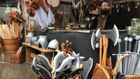A stall in the medieval market which is part of the 800th anniversary Magna Carta celebrations in St