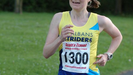 Claire Hallissey led the Midweek 10k race at Royston.
