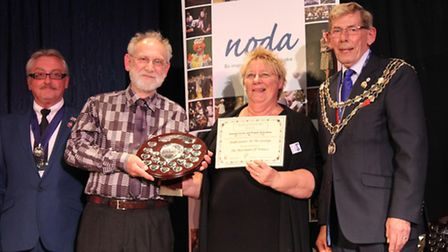 NODA East councillor Don McKay, SatG chairman (and Shylock) Richard Brown, director Jacqueline Spenc