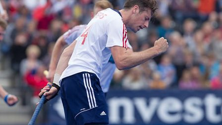 GB's Ian Lewers celebrates after scoring GB's third goal. Picture: Ravi Ghowry/Great Britian Hockey
