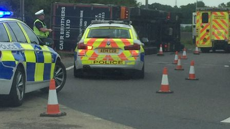 Overturned lorry at Spittals