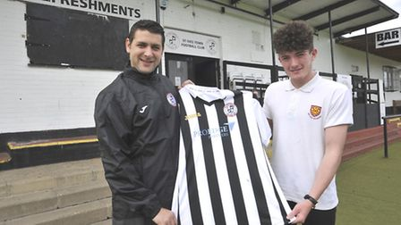 St Ives Town manager Ricky Marheineke with youngster Jack Jefferson, Picture: HELEN DRAKE
