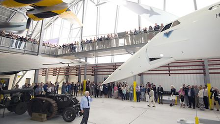 Duxford 40th anniversary: The Concorde nose operation is demonstrated to a packed audience.