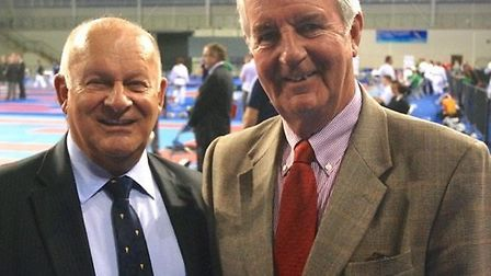 Mike Billman, chairman of the European Karate Federation Technical Commission (left), pictured with