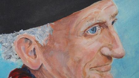 A picture of Paddy Delaney, the 'Accordion man', painted by Annalise Peet