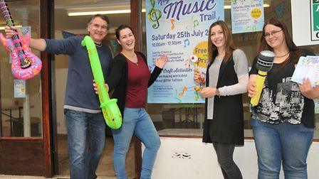 Retail revivals Mick Dobson, Rachel Edwards, Chloe Butler and Rebecca Edwards at the Music Trail in