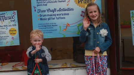 Oliver and Frea Gordon from Royston were delighted with their goody bags. PICTURE: Clive Porter.