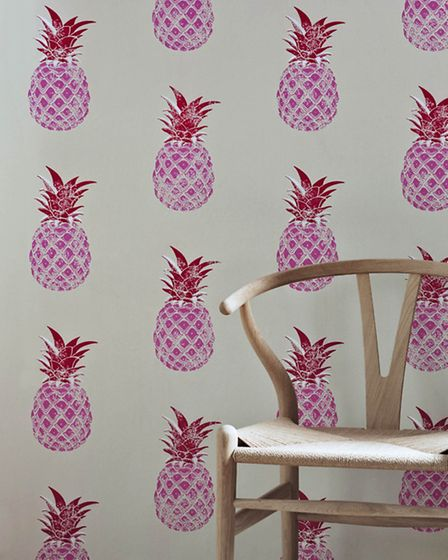 Red & Pink Pineapple Wallpaper. PA Photo/Handout