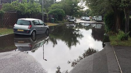 Newgate Close in Jersey Farm the morning after the huge storm