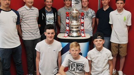 Royston Town under 14's team pose with the FA cup