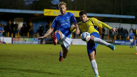 John Frendo prepares to shoot against Concord Rangers. Picture: Leigh Page