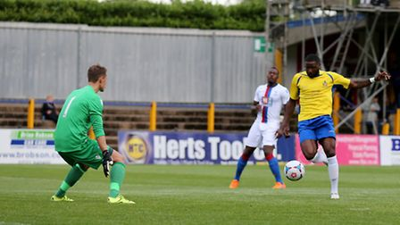 Kieran Bishop, pictured against Crystal Palace XI, scored for St Albans City against Biggleswade Tow