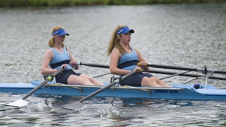 Molly Harper (front) and Zoe Anderson (back) row for the host club in the St Neots Rowing Club 150th