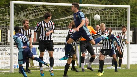 Connor Hall goes close for St Neots Town in their friendly draw at Dereham on Saturday. Picture: CLA