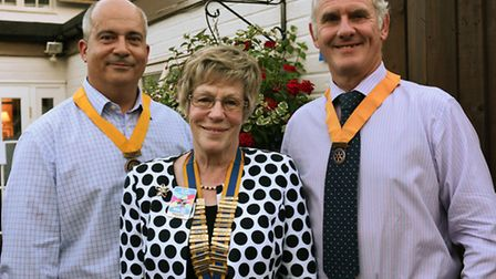 Huntingdon Cromwell Rotary, Chris Shannon , new President Margaret Bailey ,Nick Abell