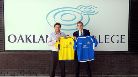 Oaklands College director of student experience Sean Scully and St Albans City commercial manager To