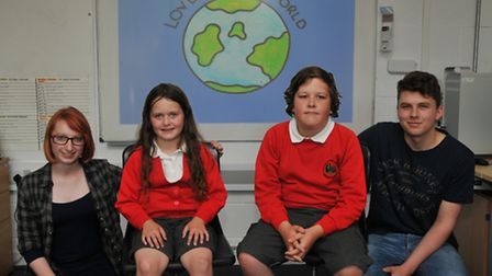 Oaklands animation students Hannah Martin and Johnathan Burke with narators Lottie, 8 and Tommy Auch