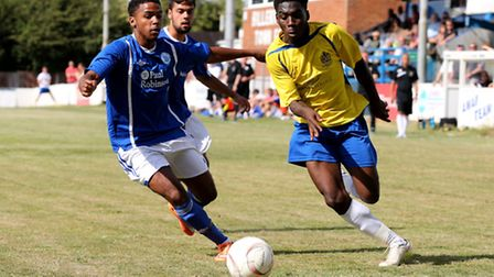 Rod Young flies past the Bllericay defence. Picture: Leigh Page
