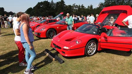 People admire the ferraris on show