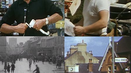 Clockwise: market traders in '69. Town hall square in '20. Hill End in '54.