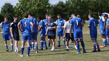 Tony Kavanagh, London Colney's director of football, gives the players instruction. Picture: Jim Whi