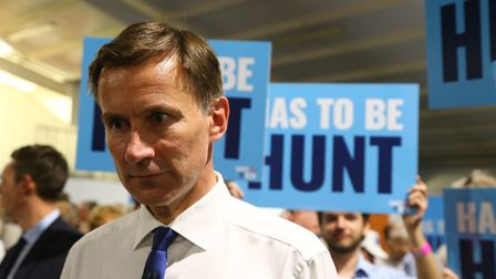 Conservative Party leadership candidate Jeremy Hunt waits his turn to speak at a Tory leadership hus