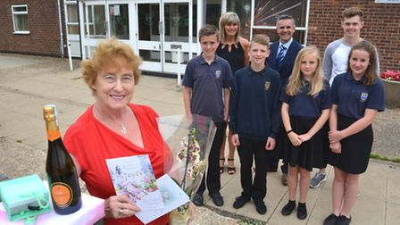 Longsands Academy, retiring Receptionist Sylvia Benwell, after 37 years, with staff and pupils,
