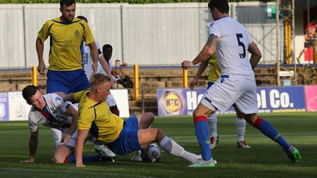 Connor Calcutt sets up Jack Green to open the scoring for the Saints. Picture: Leigh Page