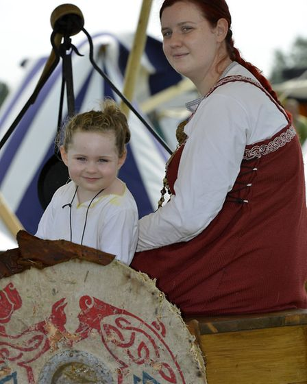 Viking and Dark Age Festival, at Woodgreen Animal Shelter, Sophie Teague, and daughter Sapphire,