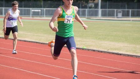 Owen King competes in the English Schools Championships.