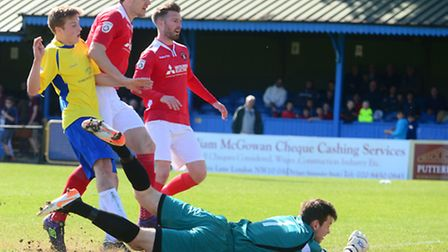 Jack Green scores the only goal of the game for St Albans City against Ebbsfleet United. Picture: Bo