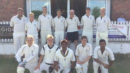 The Hunts team who beat the Royal Air Force by 69 runs on Thursday. They are back row, left to right