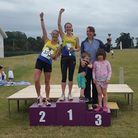 Claire Hallissey and Wendy Walsh on the podium at the Bushey 10k.