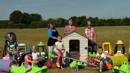 Hare & Hounds pub bought equipment for toddlers, at Little Acorns Nursery, Ernulf College, with (bac