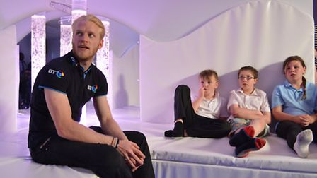 Paralympic Champion Jonnie Peacock, opens the MiLE Sensory Room, at Samuel Pepys School, St Neots, w