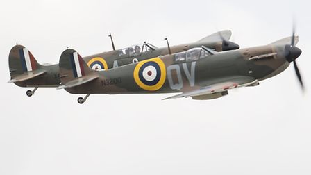 Spitfire pair at the Duxford Flying Legends Air Show. Picture: Gerry Weatherhead, www.creativeeye.me